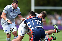 Nick Auterac of Bath Rugby takes on the Bristol Rugby defence. Pre-season friendly match, between Bristol Rugby and Bath Rugby on August 12, 2017 at the Cribbs Causeway Ground in Bristol, England. Photo by: Patrick Khachfe / Onside Images