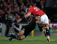 Ngani Laumape tackles Ben Te'o during the 2017 DHL Lions Series rugby union 3rd test match between the NZ All Blacks and British & Irish Lions at Eden Park in Auckland, New Zealand on Saturday, 8 July 2017. Photo: Dave Lintott / lintottphoto.co.nz