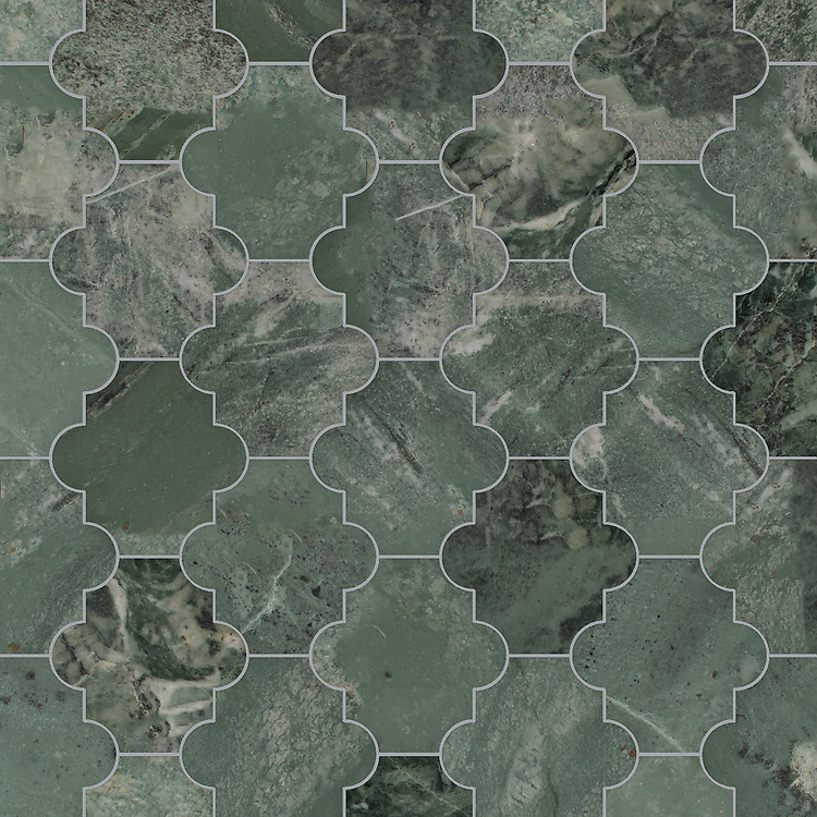 Andre, a waterjet cut stone mosaic, shown in polished Spring Green, is part of the Semplice™ collection for New Ravenna.