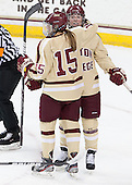 Emily Field (BC - 15), Ashley Motherwell (BC - 18) - The Boston College Eagles defeated the visiting University of Maine Black Bears 10-0 on Saturday, December 1, 2012, at Kelley Rink in Conte Forum in Chestnut Hill, Massachusetts.
