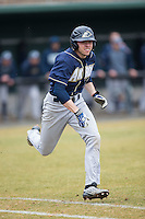 Anthony Bova (2) of the Akron Zips hustles down the first base line against the Charlotte 49ers at Hayes Stadium on February 22, 2015 in Charlotte, North Carolina.  The Zips defeated the 49ers 5-4.  (Brian Westerholt/Four Seam Images)