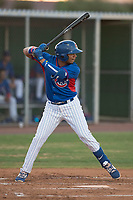 AZL Cubs 2 designated hitter Henrry Pedra (12) at bat during an Arizona League game against the AZL Reds at Sloan Park on June 18, 2018 in Mesa, Arizona. AZL Cubs 2 defeated the AZL Reds 4-3. (Zachary Lucy/Four Seam Images)