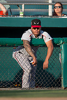Lake Elsinore Storm catcher Marcus Greene Jr. (6) during a California League game against the Modesto Nuts at John Thurman Field on May 11, 2018 in Modesto, California. Modesto defeated Lake Elsinore 3-1. (Zachary Lucy/Four Seam Images)