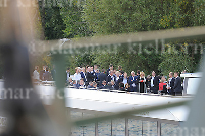 September 01-16,Potsdam,Brandenburg,Germany<br /> Informal OSCE Foreign Ministers&rsquo; Meeting in Potsdam<br /> German Foreign Minister Frank-Walter Steinmeier and participants of the meeting arrive via boat to cross the Glienicker Bridge