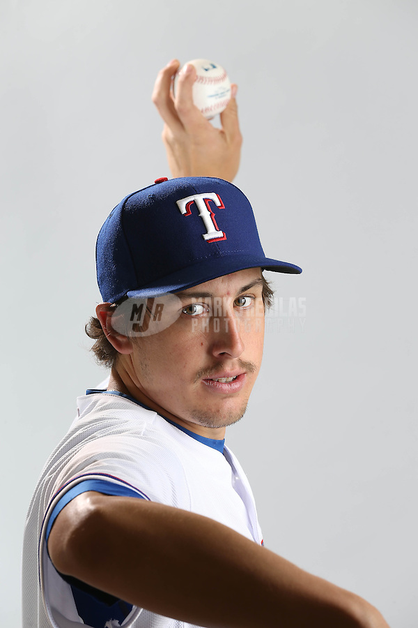 Feb. 20, 2013; Surprise, AZ, USA: Texas Rangers pitcher Derek Holland poses for a portrait during photo day at Surprise Stadium. Mandatory Credit: Mark J. Rebilas-
