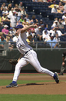 Royals left handed pitcher Chris George starts against the Rangers at Kauffman Stadium in Kansas City, Missouri on September 2, 2001. Texas won 12-6.