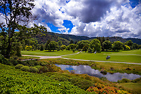 A general view from the clubhouse looking down the 18th fairway. 2018 Annika Australiasia Invitational Junior-Am at Royal Wellington Golf Club in Upper Hutt, Wellington, New Zealand on Friday, 14 December 2018. Photo: Dave Lintott / lintottphoto.co.nz