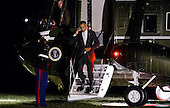 United States President Barack Obama salutes the Marine Guard as he returns to the White House on October 28, 2016 in Washington, DC. Obama traveled to Florida in the afternoon to campaign for Democratic presidential candidate Hillary Clinton. <br /> Credit: Olivier Douliery / Pool via CNP