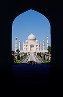 The Taj Mahal photographed through an arch, Agra, India