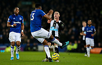 Newcastle United's Miguel Almiron is tackled by Everton's Yerry Mina<br /> <br /> Photographer Alex Dodd/CameraSport<br /> <br /> The Premier League - Everton v Newcastle United  - Tuesday 21st January 2020 - Goodison Park - Liverpool<br /> <br /> World Copyright © 2020 CameraSport. All rights reserved. 43 Linden Ave. Countesthorpe. Leicester. England. LE8 5PG - Tel: +44 (0) 116 277 4147 - admin@camerasport.com - www.camerasport.com