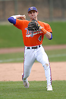 Clemson infielder John Hinson prior to a game versus the Boston College Eagles at Shea Field in Boston, Massachusetts on April 16, 2011.  Photo by Ken Babbitt /Four Seam Images