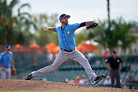 Tampa Bay Rays relief pitcher Cole Sulser (74) delivers a pitch during a Grapefruit League Spring Training game against the Baltimore Orioles on March 1, 2019 at Ed Smith Stadium in Sarasota, Florida.  Rays defeated the Orioles 10-5.  (Mike Janes/Four Seam Images)