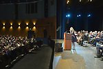 Hempstead, New York, USA. January 1, 2018. At podium, LAURA GILLEN, who has just been sworn in as Hempstead Town Supervisor, delivers her Inaugural Speech, at Hofstra University. It was first time a Democrat became Town of Hempstead Supervisor in over a century.