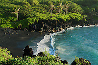 Black sand beach on Maui in Hawaii