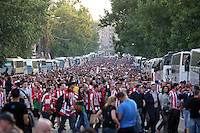 BUKARESZT 09.05.2012.MECZ FINAL LIGA EUROPY SEZON 2011/12: ATLETICO MADRYT - ATHLETIC BILBAO --- UEFA EUROPA LEAGUE FINAL 2012 IN BUCHAREST: CLUB ATLETICO DE MADRID - ATHLETIC CLUB DE BILBAO.KIBICE ATHLETIC.FOT. PIOTR KUCZA.---.Newspix.pl