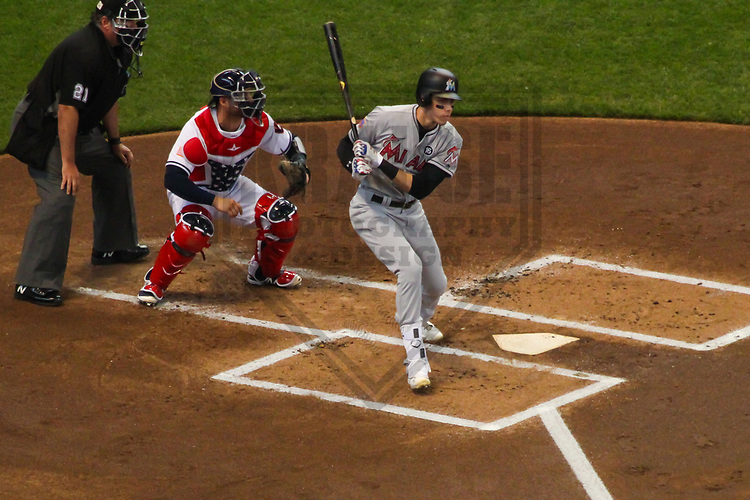 Miami Marlins outfielder Christian Yelich (21) during a Major League Baseball game against the Milwaukee Brewers on July 2, 2017 at Miller Park in Milwaukee, Wisconsin.  Miami defeated Milwaukee 10-3. (Brad Krause/Krause Sports Photography)