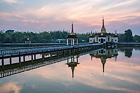'Snake Temple' (Mwe Paya) at sunset, Dalah, accross the river from Yangon, Myanmar (Burma)