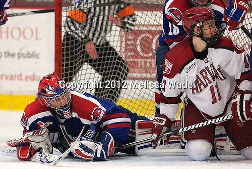 Connor Hellebuyck (UML - 37), Kyle Criscuolo (Harvard - 11) - The visiting University of Massachusetts Lowell River Hawks defeated the Harvard University Crimson 5-0 on Monday, December 10, 2012, at Bright Hockey Center in Cambridge, Massachusetts.