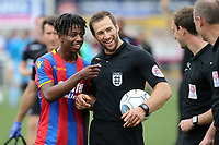 Jason Lokilo of Crystal Palace shares a joke with match referee, Con Hatzidakis during Maidstone United  vs Crystal Palace, Friendly Match Football at the Gallagher Stadium on 15th July 2017