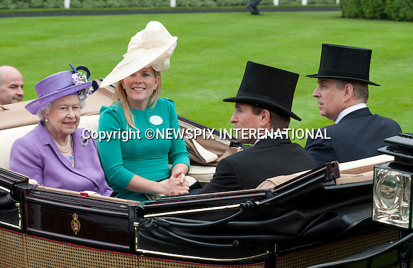 THE QUEEN, PRINCE ANDREW, PETER AND AUTUMN PHILLIPS<br /> attend the Royal Meeting at Ascot on Ladies Day, Ascot Racecourse, Ascot_20/06/2013<br /> Mandatory Credit Photo: &copy;Dias/NEWSPIX INTERNATIONAL<br /> <br /> **ALL FEES PAYABLE TO: &quot;NEWSPIX INTERNATIONAL&quot;**<br /> <br /> IMMEDIATE CONFIRMATION OF USAGE REQUIRED:<br /> Newspix International, 31 Chinnery Hill, Bishop's Stortford, ENGLAND CM23 3PS<br /> Tel:+441279 324672  ; Fax: +441279656877<br /> Mobile:  07775681153<br /> e-mail: info@newspixinternational.co.uk