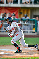 Montrell Marshall (48) of the Billings Mustangs at bat against the Orem Owlz in Pioneer League action at Home of the Owlz on July 25, 2016 in Orem, Utah. Orem defeated Billings 6-5. (Stephen Smith/Four Seam Images)