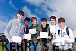 WHAT'S INSIDE: Students Archy Ryall, Nader Malouchi, Jack Prendergast, Darach Gallagher, Chris O'Halloran and Michael O'Sullivan waited a while before nervously opening their Jr. Cert. results at Mercy Mounthawk Secondary Tralee on Wednesday morning.