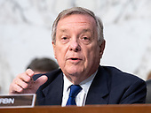 "United States Senator Dick Durbin (Democrat of Illinois) joins in the debate about the release of documents designated ""committee confidential"" prior to the US Senate Judiciary Committee beginning the third day of testimony from Judge Brett Kavanaugh on his nomination as Associate Justice of the US Supreme Court to replace the retiring Justice Anthony Kennedy on Capitol Hill in Washington, DC on Thursday, September 6, 2018.<br /> Credit: Ron Sachs / CNP<br /> (RESTRICTION: NO New York or New Jersey Newspapers or newspapers within a 75 mile radius of New York City)"