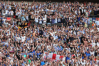 Tranmere Rovers FC fans celebrate their victory and promotion to Division One at the final whistle during Newport County vs Tranmere Rovers, Sky Bet EFL League 2 Play-Off Final Football at Wembley Stadium on 25th May 2019