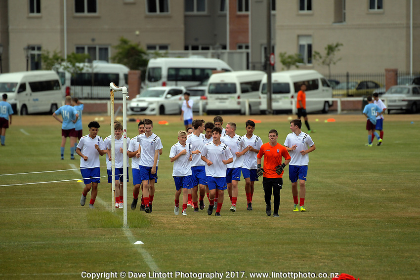 Action from the New Zealand Age Group Championships Under-15 Boys match between Auckland (white tops) and Southern at Memorial Park in Petone, Wellington, New Zealand on Wednesday, 13 December 2017. Photo: Dave Lintott / lintottphoto.co.nz