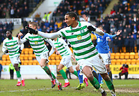1st March 2020; McDairmid Park, Perth, Perth and Kinross, Scotland; Scottish Premiership Football, St Johnstone versus Celtic; Christopher Jullien of Celtic celebrates Ryan Christie of Celtic putting Celtic into a 1-0 lead in the 81st minute