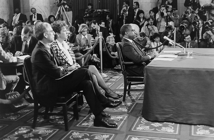 Judge Clarence Thomas confirmation hearing in October 1991. (Photo by Laura Patterson/CQ Roll Call via Getty Images)
