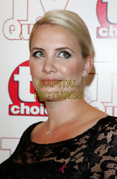CLAIRE RICHARDS.TV Choice & TV Quick Awards at the Dorchester Hotel, Park Lane, London, England..September 7th 2009.headshot portrait black lace clare silver diamond necklace earrings hair up Steps.CAP/ROS.©Steve Ross/Capital Pictures.