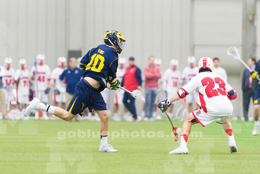 The University of Michigan mens lacrosse team,15-10 victory over Detroit Mercy at the Ultimate Soccer Arena in Pontiac, MI on February 15, 2017.