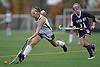 Carle Place No. 15 Kailee Pagnotta, left, stretches to make a centering pass during the Nassau County varsity field hockey Class C final against Oyster Bay at Adelphi University on Sunday, November 1, 2015. Carle Place won by a score of 5-0.<br /> <br /> James Escher