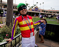 DEL MAR, CA - NOVEMBER 03: A jockey holds his whip before the race on Day 1 of the 2017 Breeders' Cup World Championships at Del Mar Racing Club on November 3, 2017 in Del Mar, California. (Photo by Scott Serio/Eclipse Sportswire/Breeders Cup)