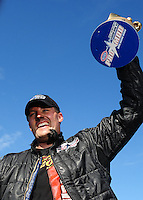 Sept. 6, 2010; Clermont, IN, USA; NHRA pro mod driver Brad Personett celebrates after winning the U.S. Nationals at O'Reilly Raceway Park at Indianapolis. Mandatory Credit: Mark J. Rebilas-