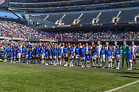 CHICAGO, IL - OCTOBER 06: The United States and player escorts during a game between the USA and Korea Republic at Soldier Field, on October 06, 2019 in Chicago, IL.