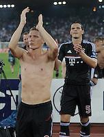 FUSSBALL   CHAMPIONS LEAGUE   SAISON 2011/2012  Qualifikation  23.08.2011 FC Zuerich - FC Bayern Muenchen Schlussjubel FC Bayern Muenchen; Bastian Schweinsteiger