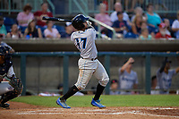 Hudson Valley Renegades Luis Trevino (17) hits a home run during a NY-Penn League game against the Mahoning Valley Scrappers on July 15, 2019 at Eastwood Field in Niles, Ohio.  Mahoning Valley defeated Hudson Valley 6-5.  (Mike Janes/Four Seam Images)