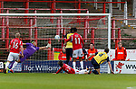 Wrexham 2 Ebbsfleet United 0, 18/11/2017. The Racecourse Ground, National League. Chris Holroyd of Wrexham mishits a shot for the first goal. Photo by Paul Thompson.