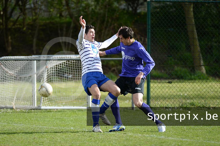 FC Helkijn - Wevelgem City :<br /> <br /> duel tussen Steve de Witte (L) en Aymar Hadjou (R)<br /> <br /> foto VDB / BART VANDENBROUCKE