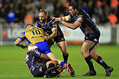 8th September 2017, The Mend-A-Hose Jungle, Castleford, England; Betfred Super League, Super 8s; Castleford Tigers versus Leeds Rhinos; Adam Cuthbertson of Leeds Rhinos is tackled by Jake Webster of Castleford Tigers