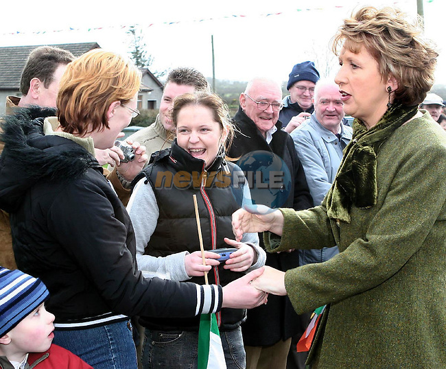 President Mary Mc Aleese meeing some locals when she visited St. Finian's National School, Dillonstown..Photo NEWSFILE/Mick Slevin....This Picture has been sent you under the condtions enclosed by:.Newsfile Ltd..the Studio,.Millmount Abbey,.Drogheda,.Co Meath..Ireland..Tel: +353(0)41-9871240.Fax: +353(0)41-9871260.GSM: +353(0)86-2500958.email: pictures@newsfile.ie.www.newsfile.ie.FTP: 193.120.102.198..This picture is from Fran Caffrey@newsfile.ie