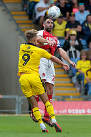 Fleetwood Town's Craig Morgan battles with Oxford United's Sam Smith<br /> <br /> Photographer David Shipman/CameraSport<br /> <br /> The EFL Sky Bet League One - Oxford United v Fleetwood Town - Saturday August 11th 2018 - Kassam Stadium - Oxford<br /> <br /> World Copyright &copy; 2018 CameraSport. All rights reserved. 43 Linden Ave. Countesthorpe. Leicester. England. LE8 5PG - Tel: +44 (0) 116 277 4147 - admin@camerasport.com - www.camerasport.com