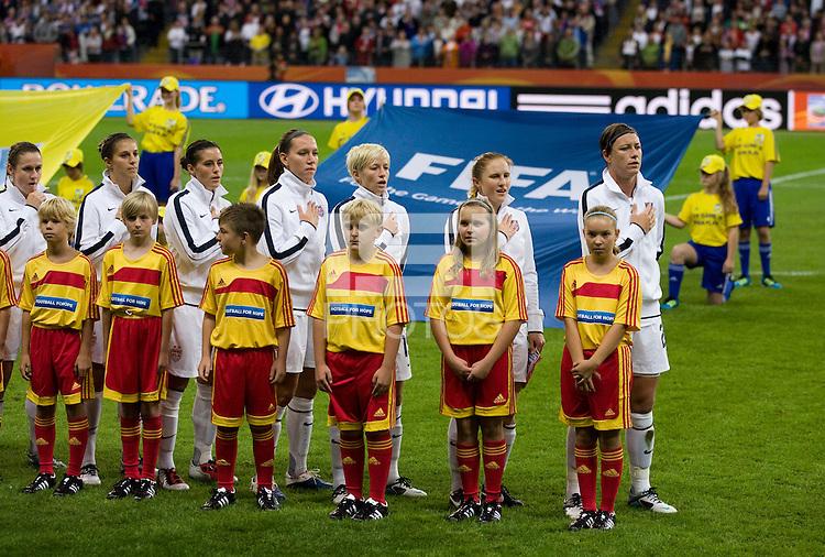 Heather O'Reilly, Carli Lloyd, Ali Krieger, Lauren Cheney, Megan Rapinoe, Rachel Buehler, Abby Wambach.  Japan won the FIFA Women's World Cup on penalty kicks after tying the United States, 2-2, in extra time at FIFA Women's World Cup Stadium in Frankfurt Germany.