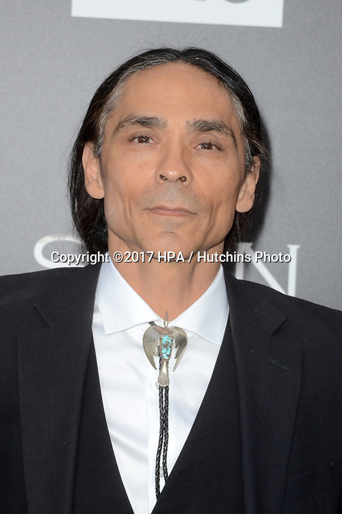 "LOS ANGELES - APR 3:  Zahn McClarnon at the AMC's ""The Son"" Season One LA Premiere at ArcLight Theater on April 3, 2017 in Los Angeles, CA"