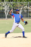 Luis Acosta participates in a mini-camp at the Chicago Cubs academy in Boca Chica, Dominican Republic on January 19, 2013.