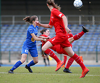 20191221 - WOLUWE: Woluwe's Celine Verdonck does a bicycle kick and Gent's Zoe Van De Cloot defends (left) during the Belgian Women's National Division 1 match between FC Femina WS Woluwe A and KAA Gent B on 21st December 2019 at State Fallon, Woluwe, Belgium. PHOTO: SPORTPIX.BE | SEVIL OKTEM