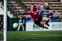 Seattle, WA - Sunday, April 17, 2016: Sky Blue FC goalkeeper Caroline Casey (27) dives for a ball during a NWSL match at Memorial Stadium.