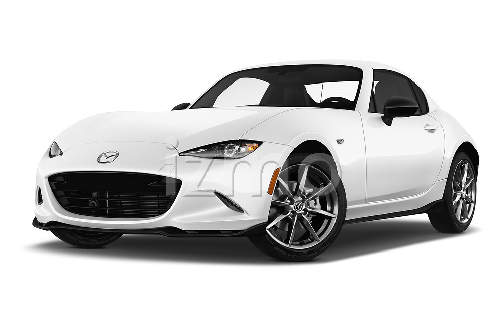 Stock pictures of low aggressive front three quarter view of a 2019 Mazda MX-5 RF Club 2 Door Convertible